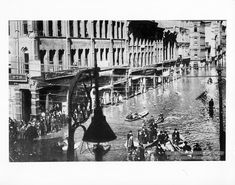 On March 16, 1907, heavy rains and melting snow brought the river stage to 36.6 feet. Take a look at this photo of downtown Pittsburgh, where the locals had to travel by boat along Penn Avenue. Photo from the Allegheny Conference on Community Development Photographs, Detre Library & Archives, Heinz History Center.