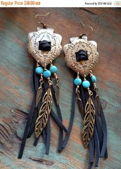 ON SALE Western bronze arrowhead concho and black by WBrandDesigns