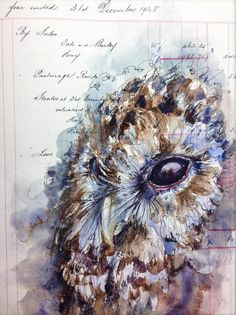 Owl by Alan Fletcher- The detail in this piece is astounding, the feathers are simply beautiful and although there's a limited amount of colour, the browns, whites and hints of blue really blend well together.