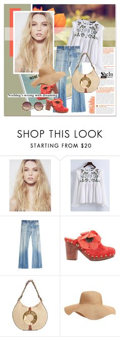"""""""#SheIn - Pleated Blouse"""" by stylemeup-649 ❤ liked on Polyvore featuring WithChic, RE/DONE, Chanel, Old Navy and Linda Farrow"""