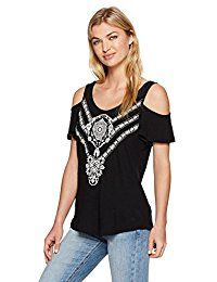 New Lucky Brand Women's Embroidered Cold Shoulder Top with Button Back online. Find the perfect ill Rock Merch Tops-Tees from top store. Sku BCDA30885KVUK44171