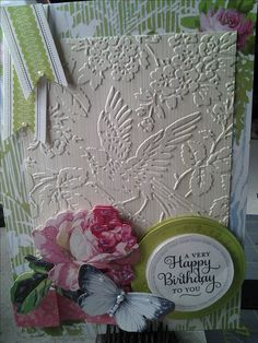 Love how the Anna Griffin embossing design is the star of this card and the Anna Griffin papers and embellishments...Wow, exquisite!