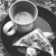 Toast and hot chocolate on a pan...
