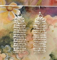 Vintage Jewelry Chain Mail Silver Washed Dangle Earrings by DLSpecialties on Etsy