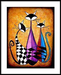Three Cat Framed Print by Fernando  Garcia