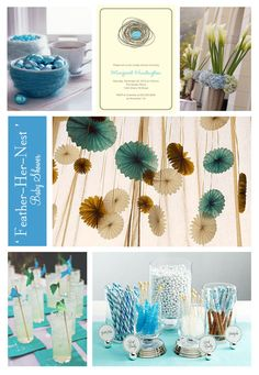 Love the tissue paper fans hanging and the chocolate covered pretzels with sprinkles.