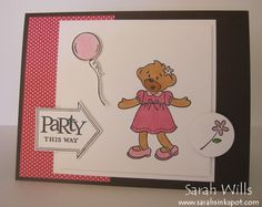 This cute Build a Bear card was an invite for my girls' birthday sleepover - it uses a Stampin Up set called Beary Best Friends...isn't it adorable?