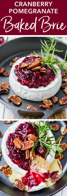 Cranberry Pomegranate Baked Brie - The most amazing, festive, and EASY appetizer! Cranberry pomegranate baked brie with honey and toas - Best Holiday Appetizers, Holiday Desserts, Appetizers For Party, Holiday Recipes, Cheese Appetizers, Easy Appetizer Recipes, Baked Brie Cranberry, Vegetarian Bake, Toasted Pecans