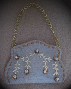 Felt purse with antique sequin embelishment.  From LSDS pattern.