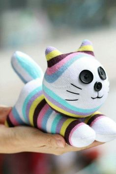 Stuffed cat doll toy plush Personalized cat by Toyapartment Sewing Toys, Sewing Crafts, Sewing Projects, Sock Crafts, Cat Crafts, Easter Toys, Sock Toys, Sock Animals, Cat Doll
