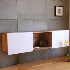 big square concrete tiles with wood and white
