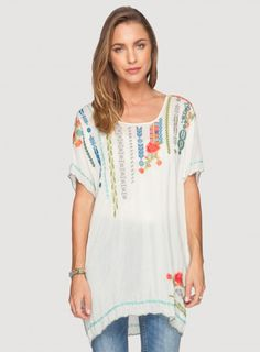 Johnny Was Embroidered Rayon Daja Blouse in Shell White #bohochic #newin #johnnywas