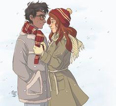 """wingedcorgi: """"it's a winter jily """" Marauders Fan Art, Harry Potter Marauders, Harry Potter Books, Marauders Era, Lily Evans Potter, Lily Potter, James Potter, Harry Potter Artwork, Harry Potter Ships"""