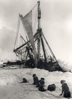 Frank Hurley, The End.  the 'endurance' which was trapped and crushed during a journey to antartica. sir ernest shakelton led his crew on an epic and successful journey to safety