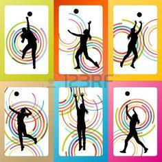 volleyball girl: Mujer Voleibol jugador vector fondo ajustado concepto para el cartel Vectores