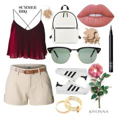 Untitled #9 by martinlid on Polyvore featuring polyvore fashion style LE3NO adidas French Connection Ray-Ban Kiyonna Lime Crime Bobbi Brown Cosmetics NARS Cosmetics Topshop clothing