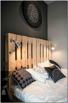 The ideas that save the space are the best and we love to collect the ideas that serve as more than one purpose because it saves money, so here you can see the innovative recycled pallet bed headboard idea with the lights just like lamps. They are fixed in their place and there is no need to place the lamps separately on the side tables.