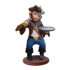 Pirate MONKEY BUTLER statue 3' nautical restaurant of the carribean ships mate