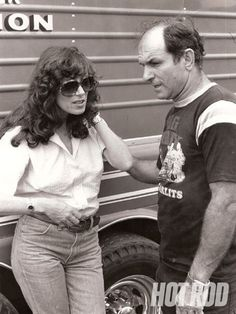 Shirley Muldowney and Don Garlits chewing the fat at the track