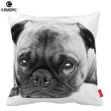 Black and White Poor Cute Pug Pet dog Print Car Decorative Throw Pillowcase Pillow cases Cushion Covers Sofa Chair Home Decor ()