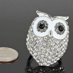 Rhinestone Owl Stretch Ring