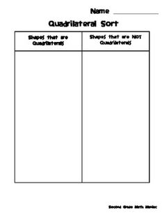this simple sort helps students understand that quadrilaterals are shapes with four sides and shapes that do not have 4 sides are not quadrilateral
