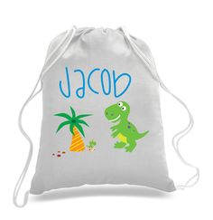 Personalized Dino Paradise design- Kids drawstring bags, gym bags, backpacks, , swimbag, sports bag DS022 by 5MonkeysDesigns on Etsy