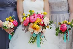 Margot Blair Floral | Coral Charm peonies, Juliette garden roses, ranunculus and succulents in these bright bouquets. | Photo by Forever Photography