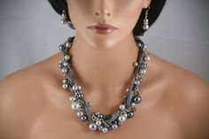 Pewter ribbon and gray pearls in this ribbon and pearl also crystrals chunky necklace -bridesmaids jewelry, wedding necklace $35