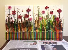 cool art project for kids. make different seasons.  Crayon craft project
