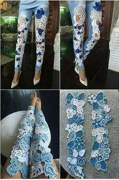 New diy clothes jeans refashioning Ideas - Best Sewing Tips Diy Clothes Jeans, Sewing Clothes, Doll Clothes, Lace Jeans, Old Jeans, Jeans Fit, Skinny Jeans, Denim Fashion, Fashion Outfits