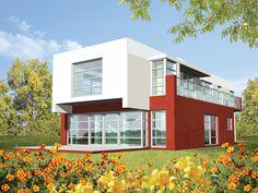 Budynek o prostej i przejrzystej konstrukcji oraz harmonijnych elewacjach z podkreśloną osią symetrii od frontu i tyłu.
