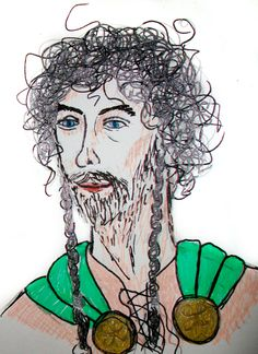 High King Eamon, from Blood Ties by Hazel B. West. Drawn by Abigail H. Leskey, based on a drawing by Hazel B. West.