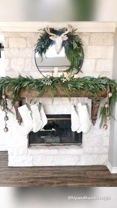 Christmas Fireplace, Christmas Mantels, Farmhouse Christmas Decor, Fireplace Mantle, Christmas Home, Farmhouse Decor, Holiday Decor, Fire Place Christmas Decor, Fire Place Decor