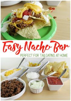 Easy Nacho Bar is perfect for tailgating at home. Everyone can create their own to enjoy during the football game! [ad] #GameTimeClean