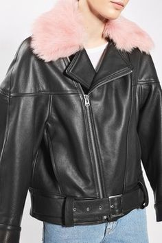 '80s Leather Aviator Jacket by Boutique