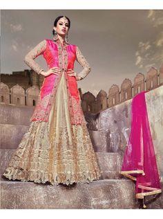 Buy Designer Lehenga Heavy Pink Sherwani Style Embroidery Lehenga Choli with Koti Raw Silk Blouse. COD and Free Shipping Avail in India