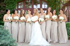Everyone sparkles in this photo -- champagne bridesmaids!