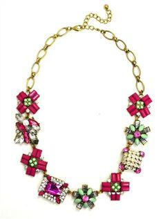 DaisyGem   Purple Pink Mint Green Flower Rhinestone Jeweled Gold Pendant Statement Necklace