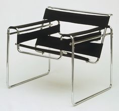 """Club chair (B3)  Marcel Breuer (American, born Hungary. 1902-1981)    1927–1928. Chrome-plated tubular steel and canvas, 28 1/4 x 30 3/4 x 28"""" (71.8 x 78.1 x 71.1 cm). Manufactured by Standard Möbel, Germany. Gift of Herbert Bayer"""