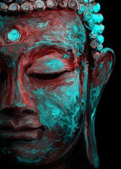 Buddha Kunst, Buddha Artwork, Buddha Wall Art, Buddha Head, Buddha Tattoos, Buda Wallpaper, Budha Art, Budha Painting, Psychedelic Colors