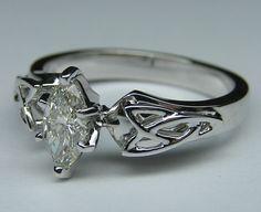 Marquise Diamond Triquetra Celtic Engagement Ring