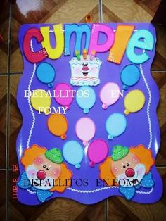 Crafts To Make, Crafts For Kids, Diy Crafts, Toddler Activities, Activities For Kids, Teachers Room, Clown Party, Birthday Charts, Bday Cards