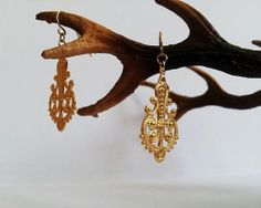 Gold plated earrings dangle metalwork  brass earring   by GoldDa, $25.00