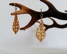 Gold plated earrings dangle metalwork  brass earring   by GoldDa, $25.00