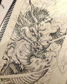 🐉 Artwork b Tattoo Sketches, Tattoo Drawings, Body Art Tattoos, Art Sketches, Japanese Dragon Tattoos, Japanese Tattoo Art, Japanese Art, Dragon Oriental, Cosplay Steampunk