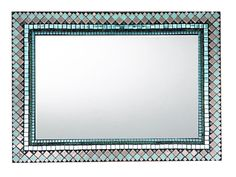 Rectangular Mosaic Mirror in Aqua and Gray Mirror Mosaic, Diy Mirror, Glass Mosaic Tiles, Mosaic Art, Wall Mirror, Mosaics, Beach House Colors, House Color Schemes, Jewellery Storage
