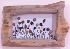 Flowers in the Breeze: Beach Pebble Picture in Natural Driftwood Frame/Pebble Art/Wall Art
