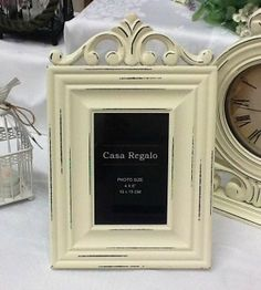 "French Provincial Shabby Chic Antique Vintage Cream Photo Frame 4x6"" Gift"