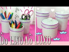 DIY ♥ Do LIXO ao LUXO ♥ Reciclando e Decorando ✂ Organizadores escolar e maquiagem - YouTube